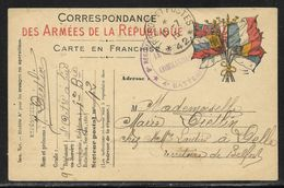 Tàd Trésor Et Postes 42 Simple Cercle 16.7.1915 + Cachet Vaguemestre 10e Régiment D'artillerie à Pied / 4e Batterie - Guerra De 1914-18