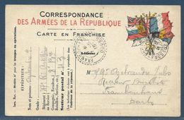Tàd Trésor Et Postes 43 Double Cercle Le 3.5.1915 Sur CP FM 7 Drapeaux Modèle A1 Tàd Arrivée Frambouhans / Doubs 7.5.15 - WW I