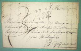 LETTRE 1825 - 43 CHATEAUNEUF SUR LOIRE  Par MONTARGIS Pour CEPOY - 1801-1848: Précurseurs XIX