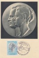 Carte  Maximum  1er  Jour    MONACO    Couple  Princier   POSTE  AERIENNE  1966 - Cartoline Maximum