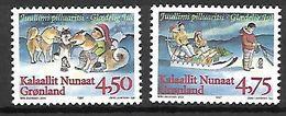 GROENLAND    -   1997  .  Y&T N° 292 / 293 **.    Noël.   Chiens  /  Traîneaux  /  Enfants. - Neufs