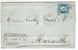 FRANCE 1875: LAC Avec Le Y&T 60C Obl. étoile De Paris ''18'' (R. D'Amsterdam) - 1862 Napoleon III