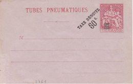Enveloppe Tube Pneumatique Chaplain 75ct Carmin Surcharge Taxe Réduite 60c. - Entiers Postaux
