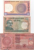 Bangladesh : Lot De 3 Petits Billets (1 Taka UNC + 2 Taka + 10 Taka) - Bangladesh