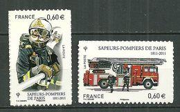 FRANCE MNH ** Adhésif Autocollant 601-602 Brigade Des Sapeurs Pompiers Pompier Avec Lance Camion Avec échelle Feu - Sellos Autoadhesivos