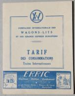 Compagnie Internationale Des Wagons-Lits, Tarif Des Consommations (publicités) - Advertising