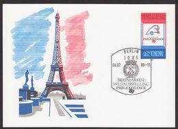 France Eiffelturm Paris Philexfrance 89 DDR GA  P102 SoSt.4.7.89 - [6] República Democrática