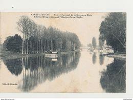 51 MAREUIL SUR AY VUE SUR LE CANAL DE LA MARNE AU RHIN EFFET DE MIRAGE DONNANT L ILLUSION D UNE CLOCHE - Mareuil-sur-Ay