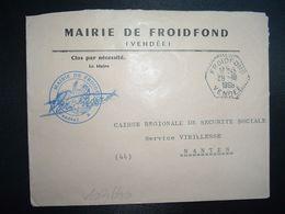 LETTRE MAIRIE OBL. HEXAGONALE Tiretée 28-10 1966 FROIDFOND VENDEE (85) - Marcofilia (sobres)