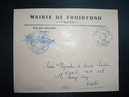 LETTRE MAIRIE OBL. HEXAGONALE Tiretée 5-10 1966 FROIDFOND VENDEE (85) - Marcophilie (Lettres)