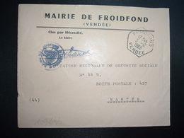 LETTRE MAIRIE OBL. HEXAGONALE Tiretée 3-12 1965 FROIDFOND VENDEE (85) - Marcophilie (Lettres)