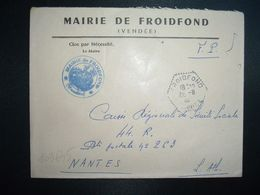 LETTRE MAIRIE OBL. HEXAGONALE Tiretée 26-8 1965 FROIDFOND VENDEE (85) - Marcophilie (Lettres)