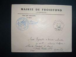 LETTRE MAIRIE OBL. HEXAGONALE Tiretée 21-11 1966 FROIDFOND VENDEE (85) - Marcophilie (Lettres)