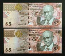 BAHAMAS SET 5, 5 DOLLARS BANKNOTES 2007 + 2013 UNC - Bahamas