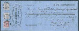 41 (2x) + 46 Op Reçu (482,57 Fr) Gestempeld VILVORDE - 15 Juin 1885 - Meunerie Vermicellerie J. F. De Bontridder - 1883 Leopold II
