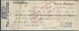 35/36 Perfin Op Reçu (1989,37 Fr) Gestempeld BRUXELLES 7 - 12 Dec 1883 - Wed P. J. Moonen 's Hertogenbosch - 1869-1883 Leopold II