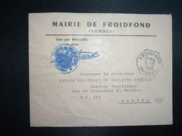 LETTRE MAIRIE OBL. HEXAGONALE Tiretée 2-2 1966 FROIDFOND VENDEE (85) - Marcophilie (Lettres)