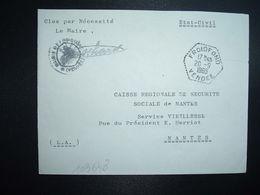 LETTRE MAIRIE OBL. HEXAGONALE Tiretée 20-9 1965 FROIDFOND VENDEE (85) - Marcophilie (Lettres)