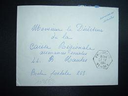 LETTRE OBL. HEXAGONALE Tiretée 27-7 1964 FROIDFOND VENDEE (85) - Marcophilie (Lettres)