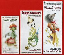 -769-  ILE DE VASSIVIERE - FESTIVAL PAROLES DE CONTEURS * PANDA - HERISSON * - SERIE MARQUE PAGE - Marque-Pages