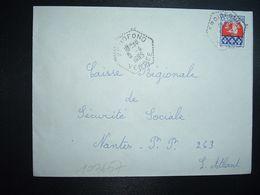 LETTRE TP BLASON PARIS 0,30 OBL. HEXAGONALE Tiretée 5-4 1965 FROIDFOND VENDEE (85) - Marcophilie (Lettres)