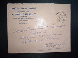 LETTRE OBL. HEXAGONALE Tiretée 10-9 1964 FROIDFOND VENDEE (85) MANUFACTURE DE VANNERIE Ernest COLLIN Successurs A.THOMAS - Marcofilia (sobres)
