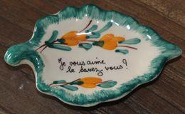 """Vide-poche, Coupelle Feuille Vallauris 60's """"je Vous Aime, Le Savez-vous?"""" - Vallauris (FRA)"""