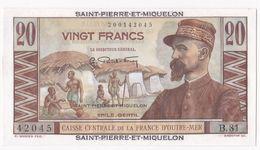 Saint Pierre Et Miquelon 20 Francs GENTIL (1950-1960), Alphabet B 81 N° 42045. Neuf - Frankrijk