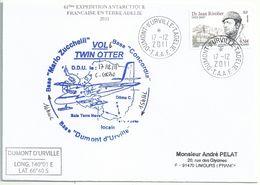 YT 557 Dr Rivolier - Transport Par Avion Twin Otter - Dumont D'Urville - Terre Adélie - 17/12/2011 - Briefe U. Dokumente