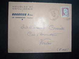 LETTRE TP M. DE DECARIS 0,25 OBL.13-3 1962 LA GARNACHE VENDEE (85) MEUBLES ET MENUISERIE BOURSIER Frères - Marcofilia (sobres)
