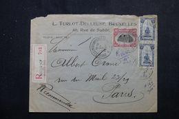BELGIQUE - Enveloppe Commerciale En Recommandé De Bruxelles En 1921 Pour Paris -  L 64408 - Cartas
