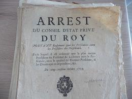 Arrest Du Conseil D''Etat Privé Du Roi 23/10/1713 Règlement Pour Les Préséances Entre Les Présidents Et Présidiaux - Decrees & Laws