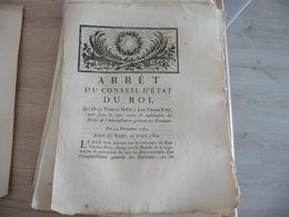Arrêt Du Conseil D''Etat Du Roi 24/12/1784 Subrogation François Mellin  Jean Vincent René Pour Régie Recette - Decrees & Laws