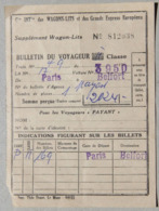 Cie Internationale Des Wagons-Lits, Bulletin Du Voyageur, Supplément Wagon-lit, Paris à Belfort - Europe