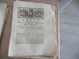 Arrêt Conseil Etat Du Roi 19/12/1784 Augmentation Et Supréssions Des Droit Sur Espèces De Cuivre - Decrees & Laws