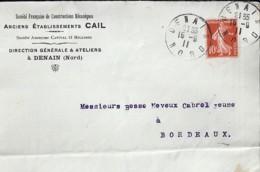 59 - NORD - DENAIN   TAD DE TYPE A4 / 1911 + ENTETE - Marcophilie (Lettres)
