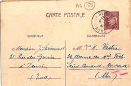59 . NORD . DENAIN . TàD De Type A4 . 1941 - Marcophilie (Lettres)
