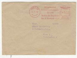 Allgemeine Ortskrankenkasse Wien Meter Stamp On Letter Cover Posted 1942 B200701 - 1918-1945 1st Republic