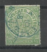 """Norddeutscher Postbezirk 2 """" 1/3 Groschen Freimarke Aus Satz Mit Ziffer Im Kreis"""" Blau Gestempelt Mi.: 6,00 € - Conf. De Alemania Del Norte"""