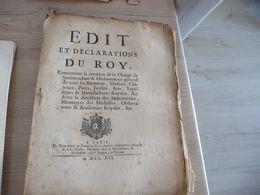Edit Et Déclarations  Du Roi 1716 Création De La Charge De Surintendant Et Ordonnateur De Tous Les Bâtiments... - Decrees & Laws