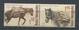265 - BOSNIE HERZEGOVINE 2001 - Yvert 333/34 Se Tenant - Cheval Chevaux - Neuf ** (MNH) Sans Trace De Charniere - Bosnie-Herzegovine