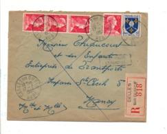 AFFRANCHISSEMENT COMPOSE SUR LETTRE RECOMMANDEE DE CELLES SUR OUCHE AUBE 1957 - Marcophilie (Lettres)