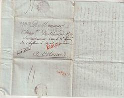 """FRANCE : MARQUE POSTALE . """" P.16.P  SAINTES """" . 25/02/1807.  POUR COLMAR . ADRESSEE A Mr DE BREMOND D'ARS . - 1801-1848: Précurseurs XIX"""
