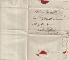 """FRANCE : MARQUE POSTALE . """" 7 CHARLEVILLE MEZIERES """" . OCTOBRE 1820.  POUR LILLE . TAXEE. - 1801-1848: Précurseurs XIX"""