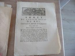 Arrêt Du Conseil Du Roi 21/08/1782 Amendes Et Consignation - Decrees & Laws