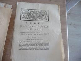 Arrêt Du Conseil Du Roi 07/12/1782 Remboursement Des Billets De Ferme .. - Decrees & Laws
