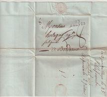 """FRANCE : MARQUE POSTALE . """" 23 BELVES """" . 13/06/1810 .  POUR BORDEAUX . TAXEE. - 1801-1848: Précurseurs XIX"""