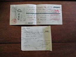 2 Stuks Ontvangstbewijzen Wm .  K U¨nne   Agent  Général   Brux .   1910   Chuze  Fukagawa & Arita  JAPON - Chèques & Chèques De Voyage