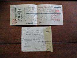 2 Stuks Ontvangstbewijzen Wm .  K U¨nne   Agent  Général   Brux .   1910   Chuze  Fukagawa & Arita  JAPON - Cheques & Traveler's Cheques