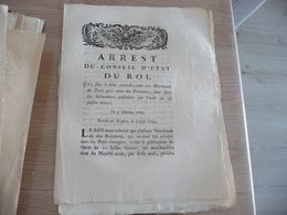 Arrêt Du Conseil Du Roi 07/10/1785 Délai Accordé Au Marchands De Paris Et Province Pour Aire Déclaration - Decrees & Laws